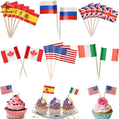 50/100Pcs Mini Toothpick Pick Flags Cocktail Flag 11 Countries & World Flags New