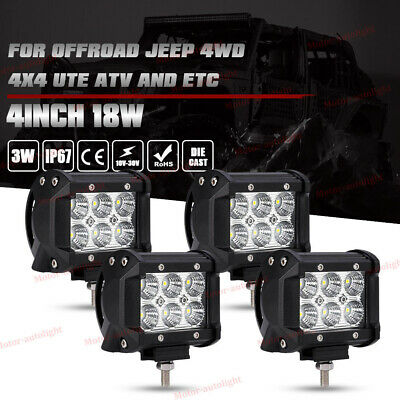 4x 4inch 18W CREE Led Work Light Bar SPOT Pod Offroad Driving Jeep UTE ATV Lamp