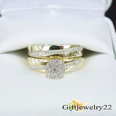 14K Yellow Gold Diamond Engagement Ring Set 1.30 Ct Ladies Bridal Wedding Bands