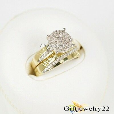1.36Ct Diamond Wedding Band Bridal Set Round Cut Engagement Ring 14K Yellow Gold