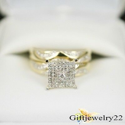 1.35 Ct Diamond 14K Yellow Gold Round Engagement Ring Wedding Band Bridal Set