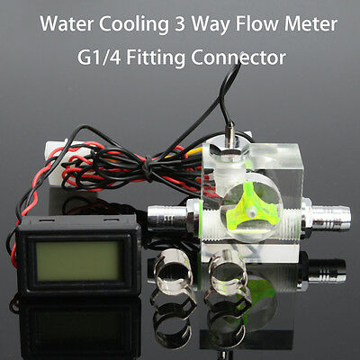 Water Liquid Cooling 3 Way Flow Meter W/ Thermometer LED G1/4 Threaded Connector