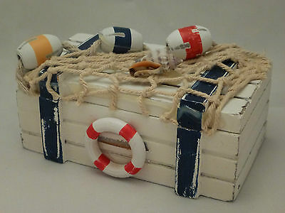 Seaside Nautical Wooden Shabby Chic Bathroom  Rustic  Trinket Box NEW