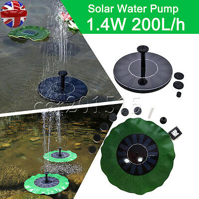 UK FAST Solar Powered Submersible Floating Fountain Garden Pool Pond Water Pump