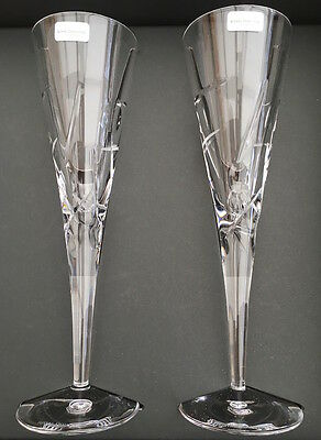 Royal Doulton LUNAR Lead Crystal Champagne Flutes (PAIR) Brand New