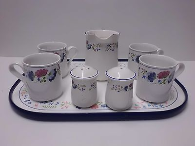 4 x British Home Stores Priory Mugs, Milk Jug, Tray and Salt n Pepper Pots