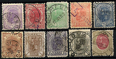 Romania 1893-1919 King Carol I x 10 Different Used Stamps #D50115