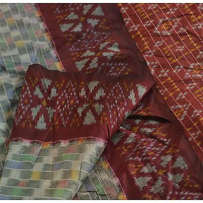 Sanskriti Vintage Indian Saree Woven Patola Sari Fabric Pure Silk Multi Color