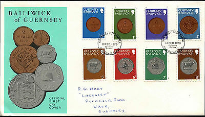 Guernsey 1979 Coins, 1/2p -8p Definitives FDC First Day Cover #C41876