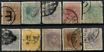 Puerto Rico Spanish Colony 1882-5, 10 King Alfonso XII, Used Stamps #D49968