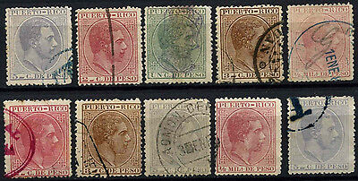 Puerto Rico Spanish Colony 1882-5, 10 King Alfonso XII, Used Stamps #D49967