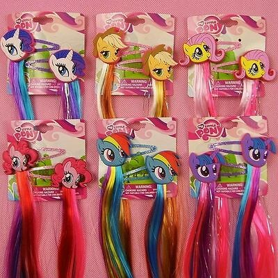 My Little Pony Princess Braid Wig Hair Clips Girls Cosplay Hair Accessories 2pcs