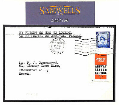 MS1166 1966 GB ISLE OF MAN Regional *Cambrain Airways*Letter Service Cover Essex
