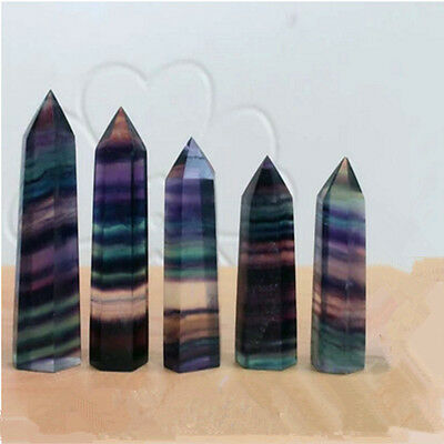50G Colorful Natural Fluorite Quartz Crystal Wand Point Healing