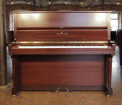 Reconditioned, 1980, Steinway Model V upright piano with a mahogany case