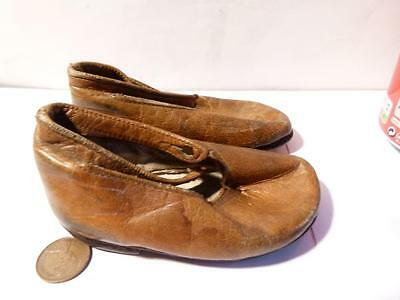 Antique Vintage Leather Sole Children or DOLLS Shoes Warranted Glace Kid