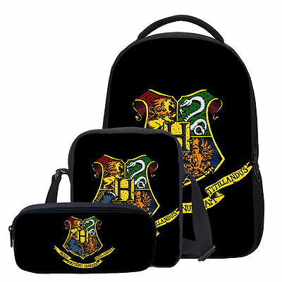 3PC Set Harry Potter Hogwarts Crest Travel School Backpack Shoulder Bag Pen Case