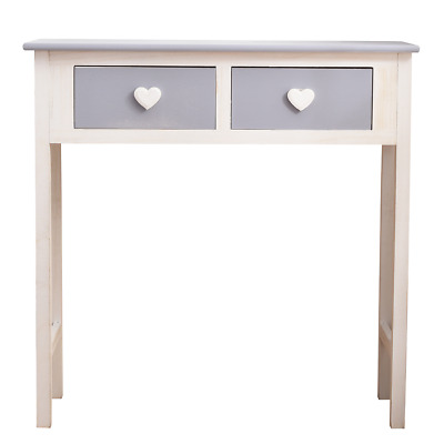 Mobili Rebecca® Consolle Desk 2 Drawers White Grey Wood Heart Hall Living Room
