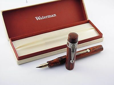 """Vintage """"Waterman 52V"""" Fountain Pen-Red Ripple Lever Filler in Box-USA 1920s"""