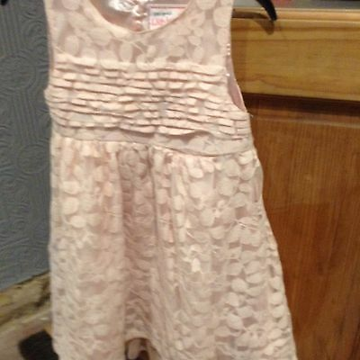 Girls Young Dimension Peach Lace  Party Dress Age 3-4