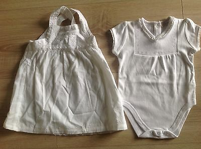 New white dress and romper sz 6-9 months