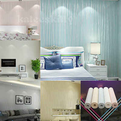 10M 3D Embossed Textured Flocking Non-woven Wallpaper Roll Home Decal Wall Decor