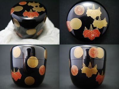 Japanese Traditional Lacquer Wooden Tea Caddy KOUDAIJI makie Natsume (M31)