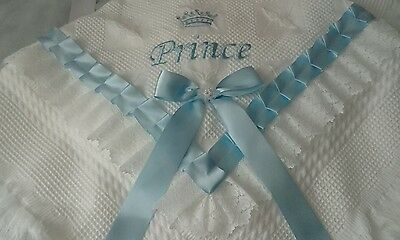 beautiful white/blue baby boys shawl **NEW**  PRINCE  can be personalised
