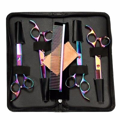 "7"" Professional PET DOG CAT Grooming Scissors Cutting&Thinning&Curved Shears Set"