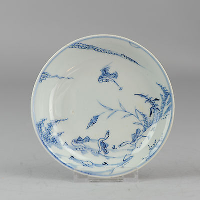 Antique 18C yongzhyeng Chinese Porcelain Blue & White Dish saucer ducks Qing