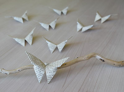 Aged book paper butterflies 3D origami decoration Pack of 30