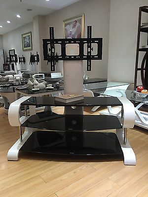 Curved TV Entertainment Stand in White with Black Glass and TV Bracket