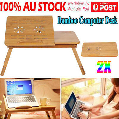 2X Portable Laptop Desk Notebook Stand Table Sofa Bed Multi Function Fine Bamboo