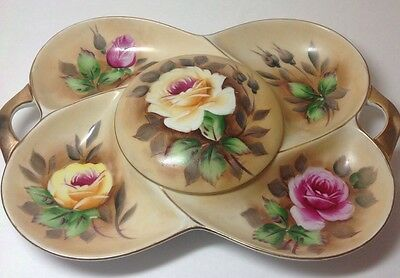 Covered Relish Dish Vanity Tray Painted Floral Roses Vintage Estate China