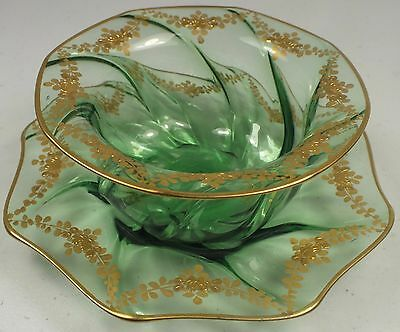 Victorian Green Twist Glass Finger Bowl & Underplate ~Both W/ Gold Enamel Floral