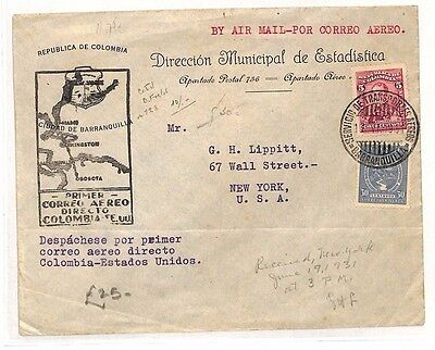 BF293 1931 COLOMBIA Bogota USA New York First Flight Airmail Cover