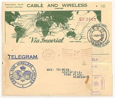 CC54 1942 Cable and Wireless Leeds Harrogate GB Cover Samwells-Covers