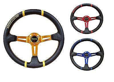 Momo 350mm deep dish BLUE/RED/GOLD steering wheel racing sports PVC drifting