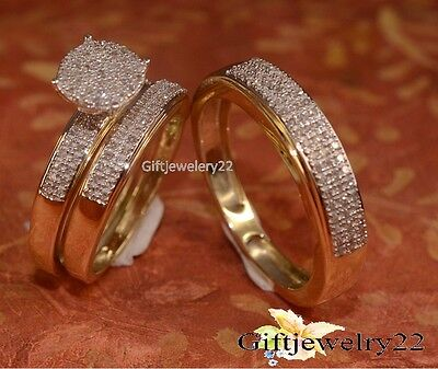 10K Yellow Gold His and Her Diamond Engagement Bridal Wedding Band Trio Ring Set