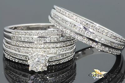 14k White Gold His/Hers Men Women 1.2 Ct Diamond Bridal Wedding Ring Trio Set