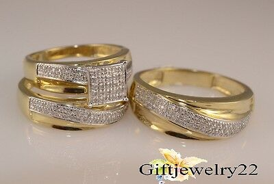 Diamond Trio Set Engagement Bridal Ring Wedding Band 10K Yellow Gold 1.30 Ct