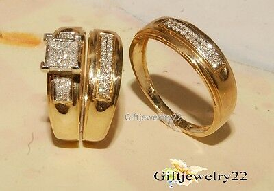 1.20 Ct D/VVS1 Diamond Trio Set Wedding Engagement Bridal Ring 14K Yellow Gold