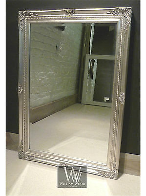 "Cannes Silver Shabby Chic Rectangle Antique Wall Mirror  40"" x 28""  Large"