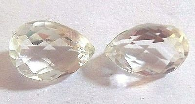 New AAA 1 Pair Natural Crystal Quartz Gemstone Pear Faceted Making Jewelry 3770