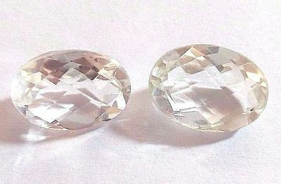 AAA New 1 Pair Natural Crystal Quartz Gemstone Oval Faceted Making Jewelry 3771