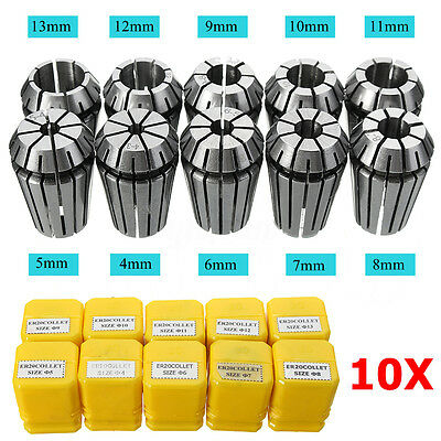 10pcs ER20 HSS Spring Collet For CNC Milling Lathe Tool Engraving Machine 1 Set