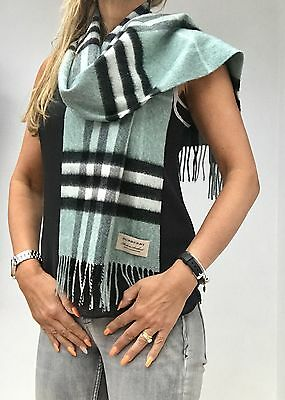 Bnwt £335 Giant Icon Burberry Mint Green Check Cashmere Scarf/shawl