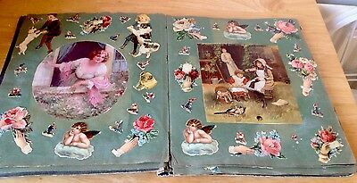 1900's Album Scrapbook Scraps Children Flowers Chromos Royal 36 Sides £32.00 !!