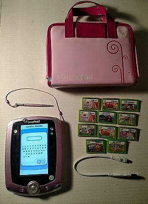 Leap Frog LeapPad 2 Girls Lavender- Pink Case with 11 Games lot
