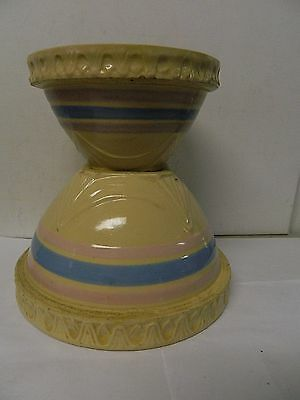 VTG McCoy Pie Crust Banded Yellowware Mixing Bowls Set of 2 USA Made